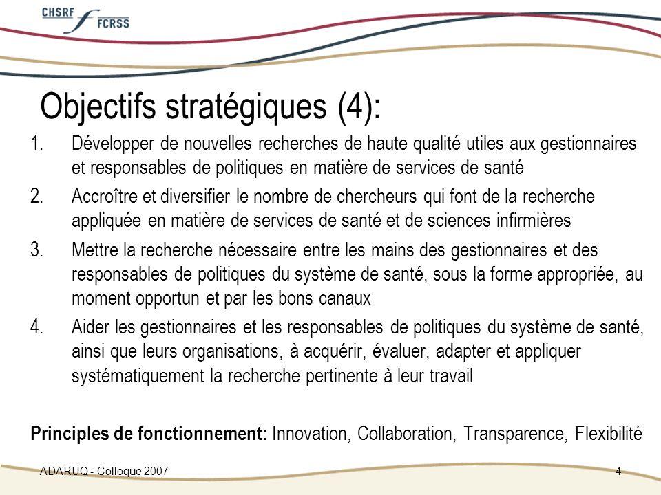 ADARUQ - Colloque 20074 Objectifs stratégiques (4): 1.Développer de nouvelles recherches de haute qualité utiles aux gestionnaires et responsables de politiques en matière de services de santé 2.Accroître et diversifier le nombre de chercheurs qui font de la recherche appliquée en matière de services de santé et de sciences infirmières 3.Mettre la recherche nécessaire entre les mains des gestionnaires et des responsables de politiques du système de santé, sous la forme appropriée, au moment opportun et par les bons canaux 4.Aider les gestionnaires et les responsables de politiques du système de santé, ainsi que leurs organisations, à acquérir, évaluer, adapter et appliquer systématiquement la recherche pertinente à leur travail Principles de fonctionnement: Innovation, Collaboration, Transparence, Flexibilité