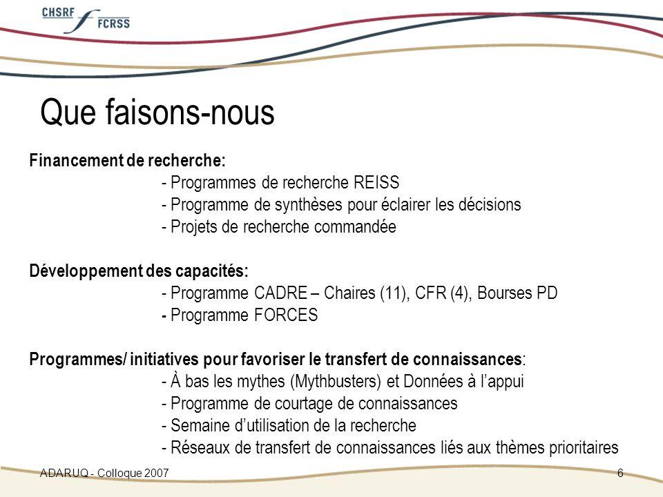 ADARUQ - Colloque 20076 Que faisons-nous Financement de recherche: - Programmes de recherche REISS - Programme de synthèses pour éclairer les décisions - Projets de recherche commandée Développement des capacités: - Programme CADRE – Chaires (11), CFR (4), Bourses PD - Programme FORCES Programmes/ initiatives pour favoriser le transfert de connaissances : - À bas les mythes (Mythbusters) et Données à lappui - Programme de courtage de connaissances - Semaine dutilisation de la recherche - Réseaux de transfert de connaissances liés aux thèmes prioritaires