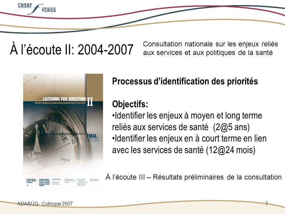 ADARUQ - Colloque 20077 Processus didentification des priorités Objectifs: Identifier les enjeux à moyen et long terme reliés aux services de santé (2@5 ans) Identifier les enjeux en à court terme en lien avec les services de santé (12@24 mois) À lécoute II: 2004-2007 Consultation nationale sur les enjeux reliés aux services et aux politiques de la santé À lécoute III – Résultats préliminaires de la consultation