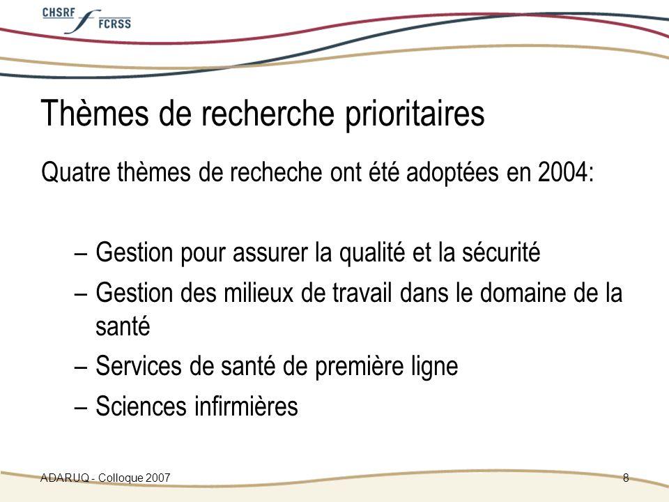 ADARUQ - Colloque 20078 Thèmes de recherche prioritaires Quatre thèmes de recheche ont été adoptées en 2004: –Gestion pour assurer la qualité et la sécurité –Gestion des milieux de travail dans le domaine de la santé –Services de santé de première ligne –Sciences infirmières