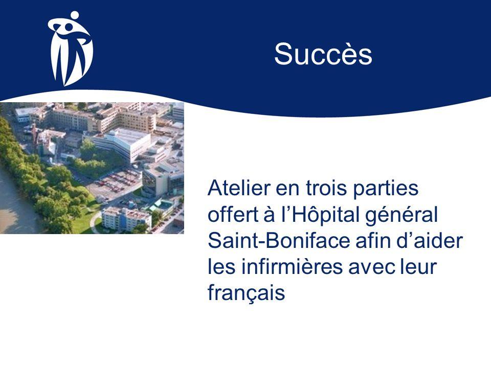 Atelier en trois parties offert à lHôpital général Saint-Boniface afin daider les infirmières avec leur français