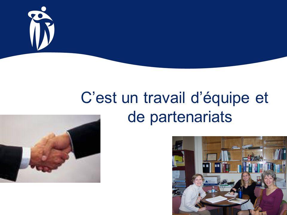 Cest un travail déquipe et de partenariats