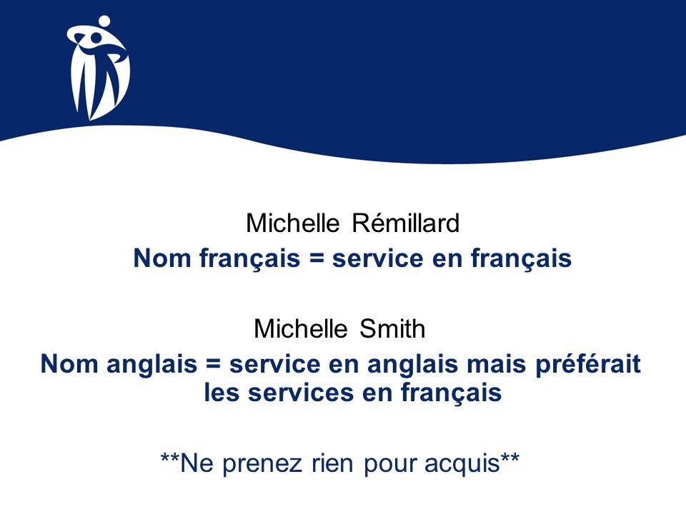 Michelle Rémillard Nom français = service en français Michelle Smith Nom anglais = service en anglais mais préférait les services en français **Ne pre