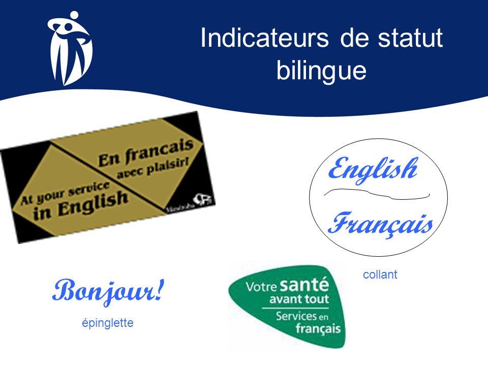 Indicateurs de statut bilingue Bonjour! épinglette English Français collant