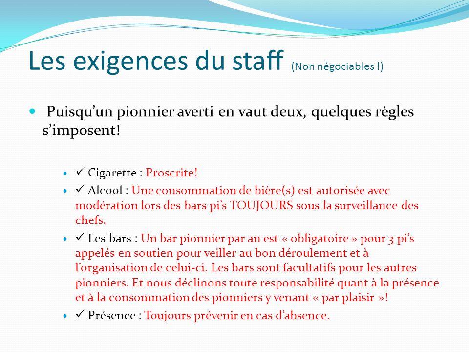 Les exigences du staff (Non négociables !) Puisquun pionnier averti en vaut deux, quelques règles simposent.