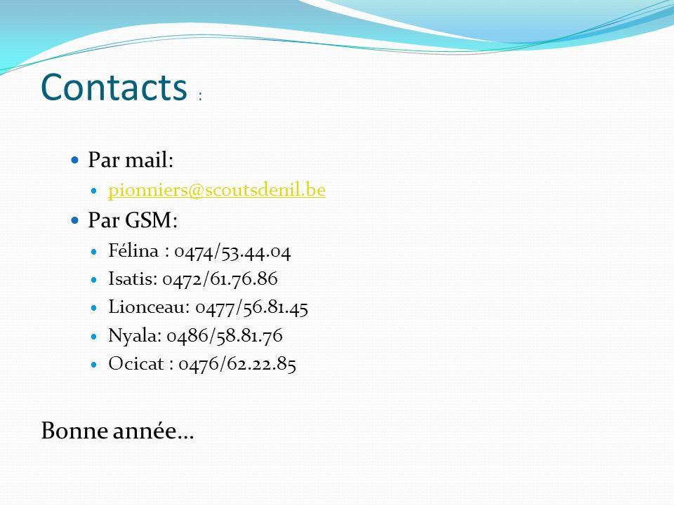 Par mail: pionniers@scoutsdenil.be Par GSM: Félina : 0474/53.44.04 Isatis: 0472/61.76.86 Lionceau: 0477/56.81.45 Nyala: 0486/58.81.76 Ocicat : 0476/62.22.85 Bonne année… Contacts :