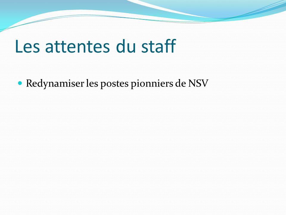 Les attentes du staff Redynamiser les postes pionniers de NSV