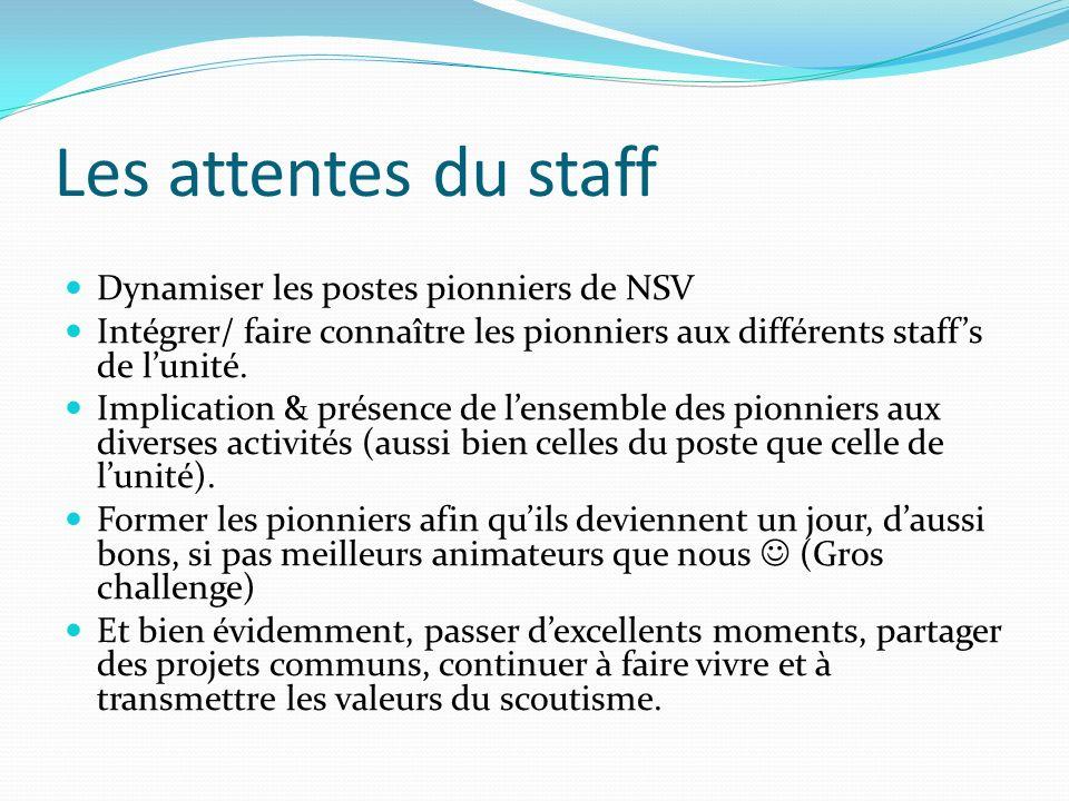 Les attentes du staff Dynamiser les postes pionniers de NSV Intégrer/ faire connaître les pionniers aux différents staffs de lunité.
