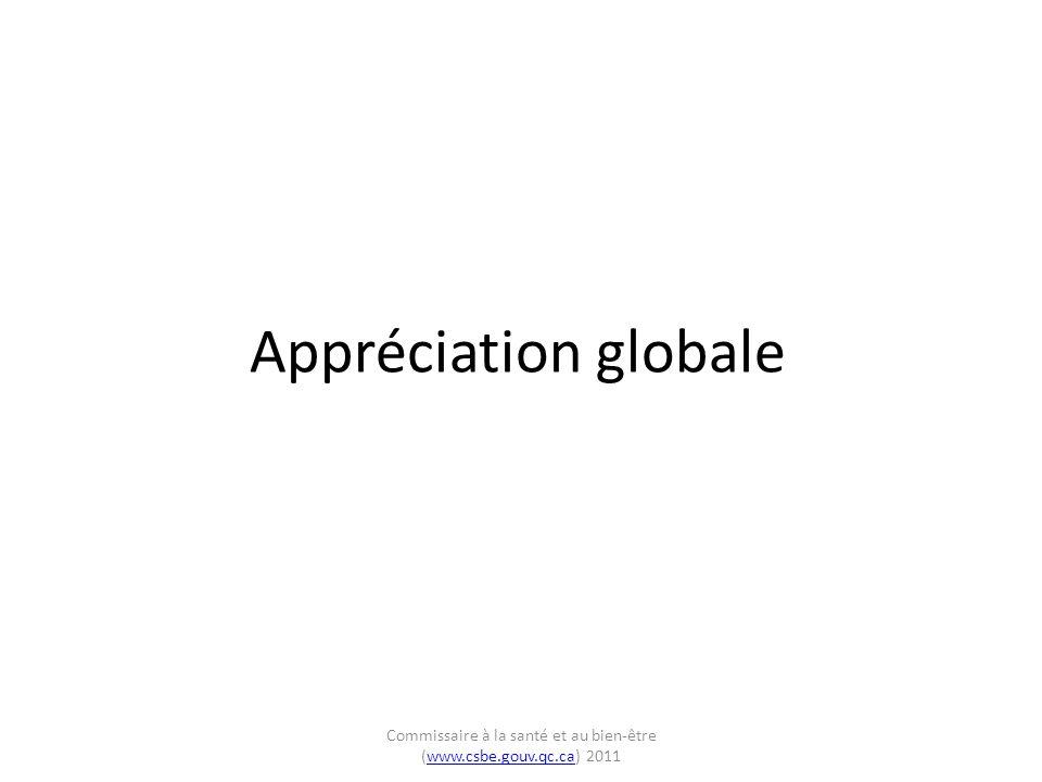Commissaire à la santé et au bien-être (www.csbe.gouv.qc.ca) Régions éloignées: degrés d atteinte de la balise d excellence – adaptation