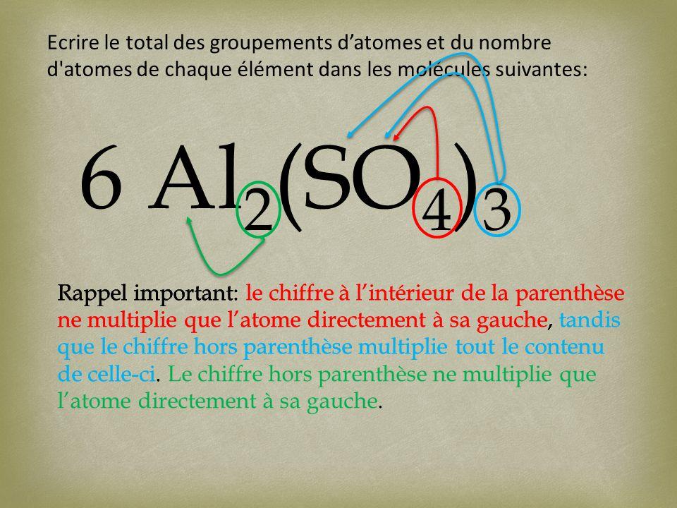 Ecrire le total des groupements datomes et du nombre d atomes de chaque élément dans les molécules suivantes: 6 Al 2 (SO 4 ) 3 Rappel important: le chiffre à lintérieur de la parenthèse ne multiplie que latome directement à sa gauche, tandis que le chiffre hors parenthèse multiplie tout le contenu de celle-ci.