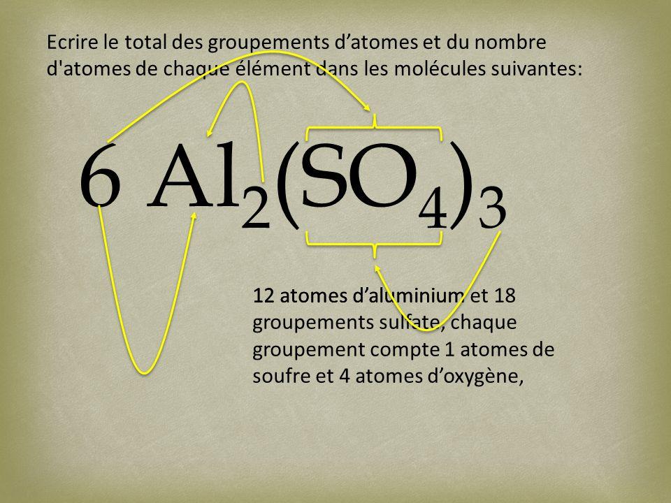Ecrire le total des groupements datomes et du nombre d atomes de chaque élément dans les molécules suivantes: 6 Al 2 (SO 4 ) 3 12 atomes daluminium12 atomes daluminium et 18 groupements sulfate, chaque groupement compte 1 atomes de soufre et 4 atomes doxygène,