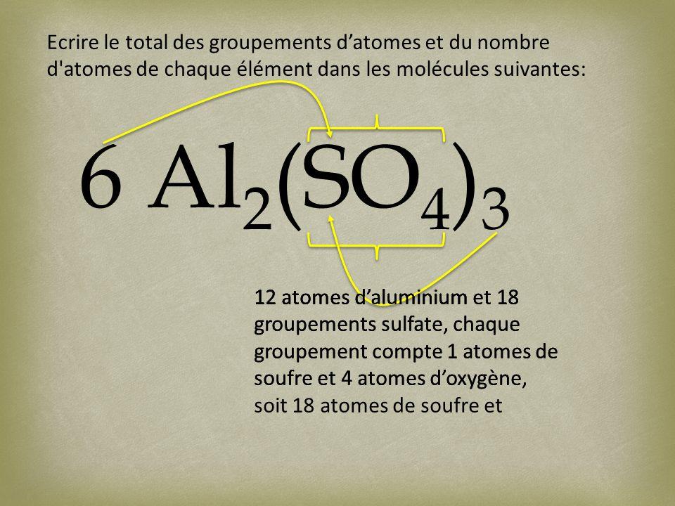 Ecrire le total des groupements datomes et du nombre d atomes de chaque élément dans les molécules suivantes: 6 Al 2 (SO 4 ) 3 12 atomes daluminium12 atomes daluminium et 18 groupements sulfate, chaque groupement compte 1 atomes de soufre et 4 atomes doxygène, 12 atomes daluminium et 18 groupements sulfate, chaque groupement compte 1 atomes de soufre et 4 atomes doxygène, soit 18 atomes de soufre et