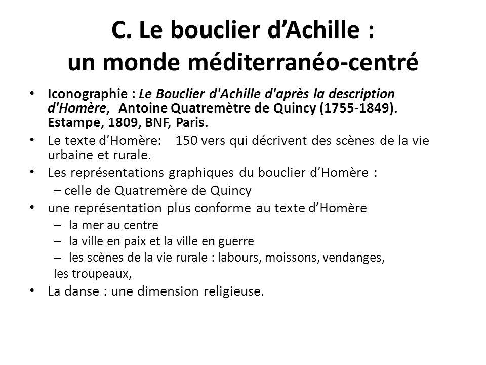 C. Le bouclier dAchille : un monde méditerranéo-centré Iconographie : Le Bouclier d'Achille d'après la description d'Homère, Antoine Quatremètre de Qu