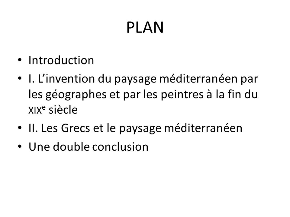PLAN Introduction I.