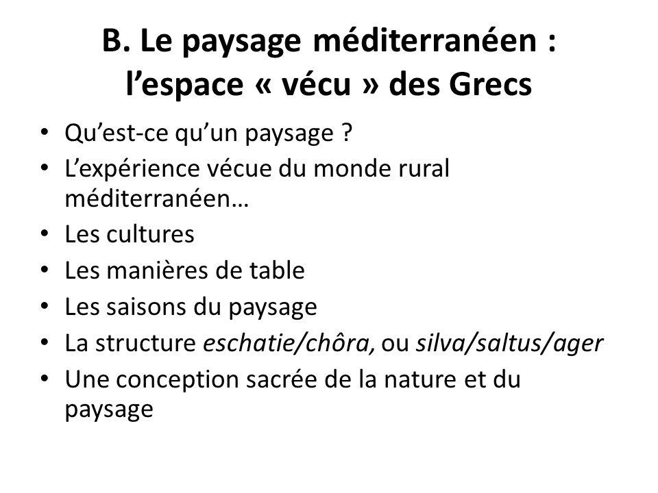 B. Le paysage méditerranéen : lespace « vécu » des Grecs Quest-ce quun paysage ? Lexpérience vécue du monde rural méditerranéen… Les cultures Les mani