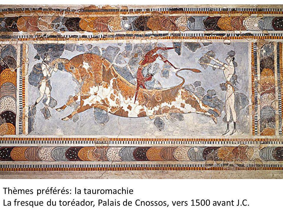 Thèmes préférés: la tauromachie La fresque du toréador, Palais de Cnossos, vers 1500 avant J.C.