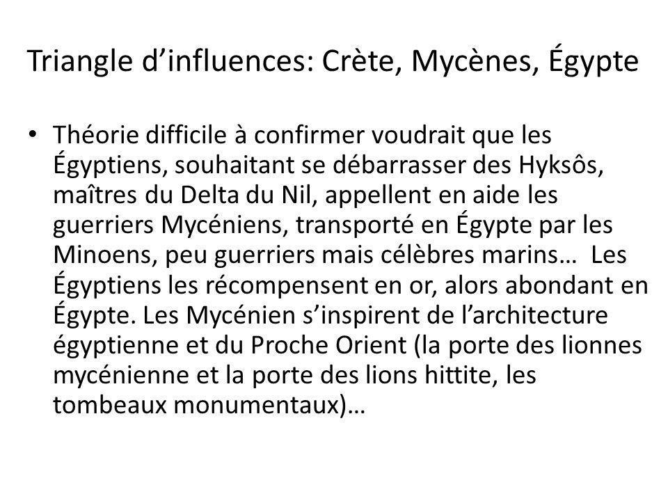 Triangle dinfluences: Crète, Mycènes, Égypte Théorie difficile à confirmer voudrait que les Égyptiens, souhaitant se débarrasser des Hyksôs, maîtres d