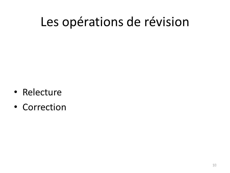 Les opérations de révision Relecture Correction 10