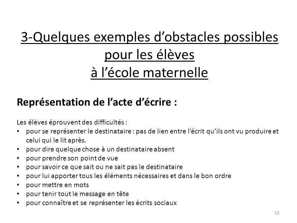 3-Quelques exemples dobstacles possibles pour les élèves à lécole maternelle Représentation de lacte décrire : Les élèves éprouvent des difficultés :
