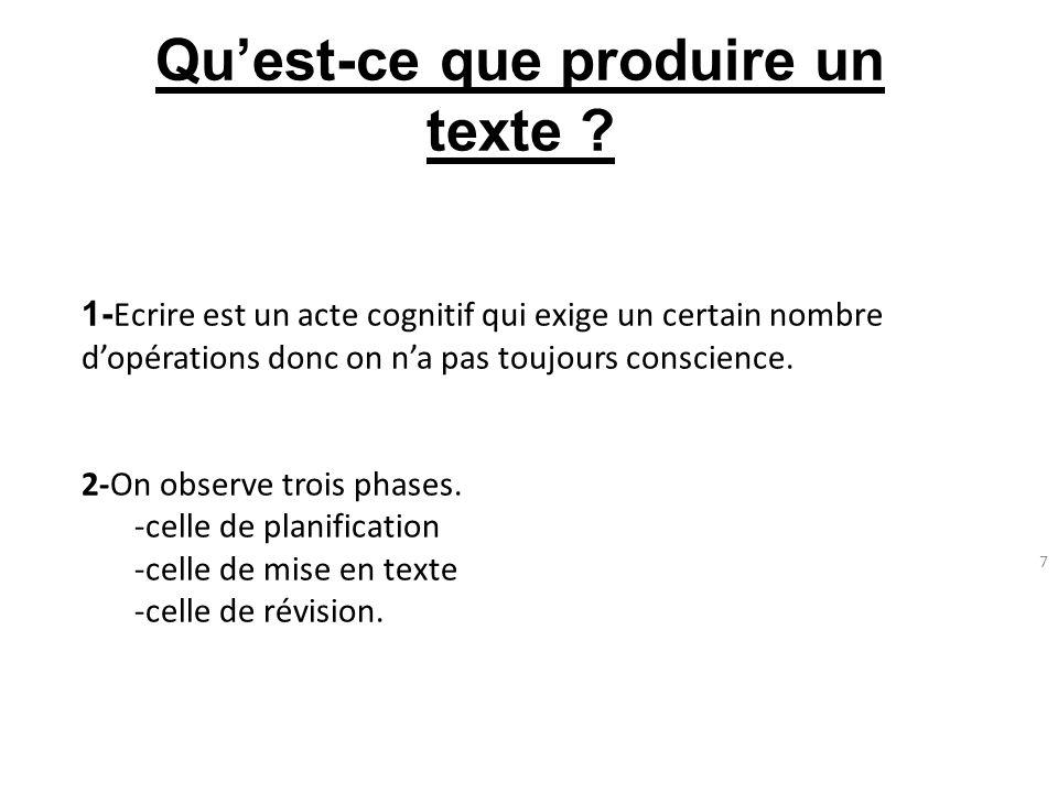 7 Quest-ce que produire un texte ? 1- Ecrire est un acte cognitif qui exige un certain nombre dopérations donc on na pas toujours conscience. 2-On obs