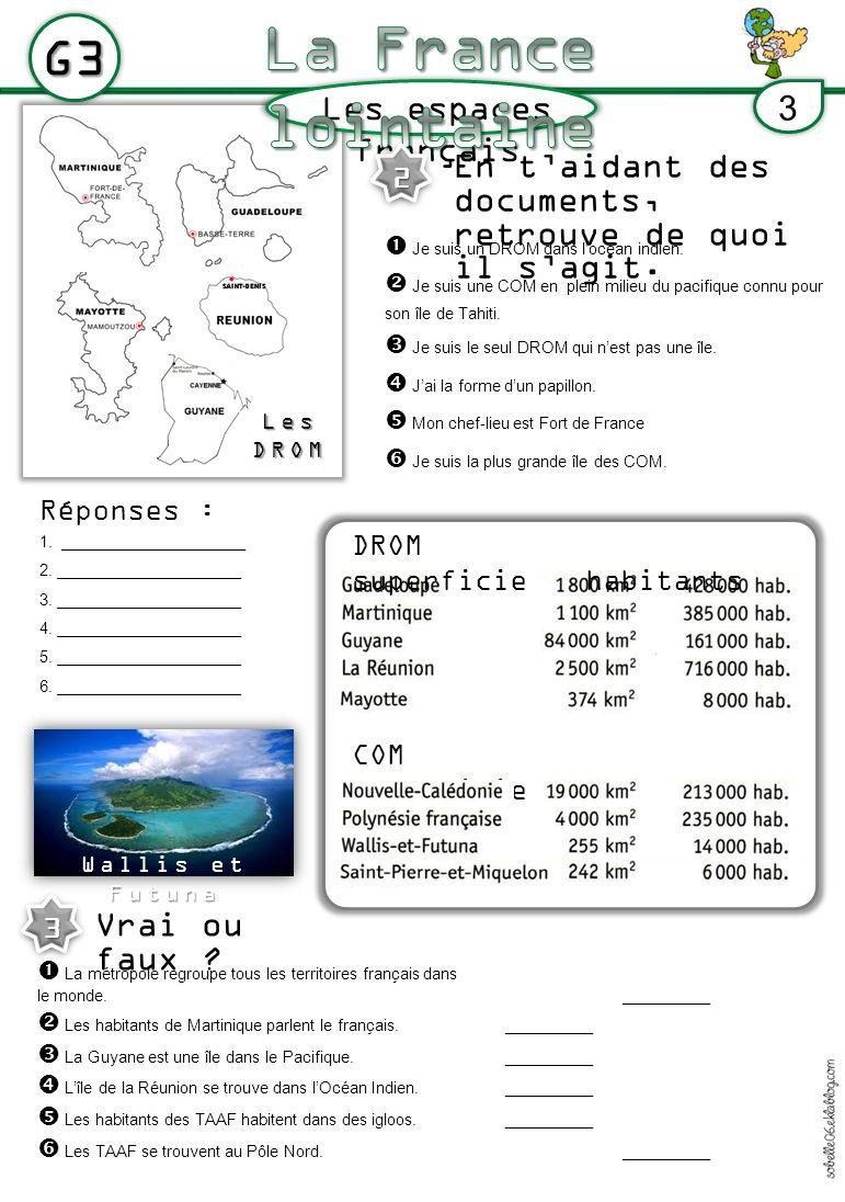 LesDROM Les espaces français G3 3 DROM superficiehabitants COM superficie habitants En taidant des documents, retrouve de quoi il sagit.