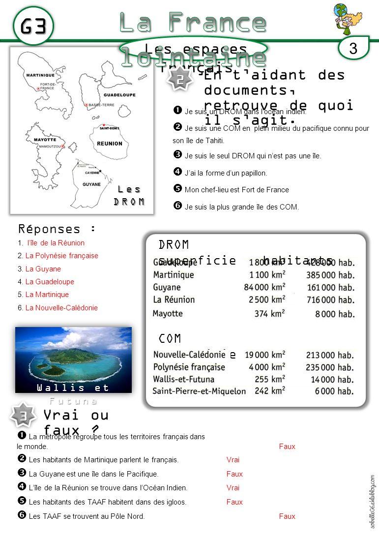 LesDROM Les espaces français G3 3 DROM superficiehabitants COM superficie habitants En taidant des documents, retrouve de quoi il sagit. 2 Je suis un