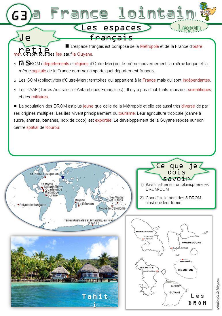 G3 Lespace français est composé de la Métropole et de la France doutre- mer. Ce sont tous des îles sauf la Guyane. o Les DROM ( départements et région