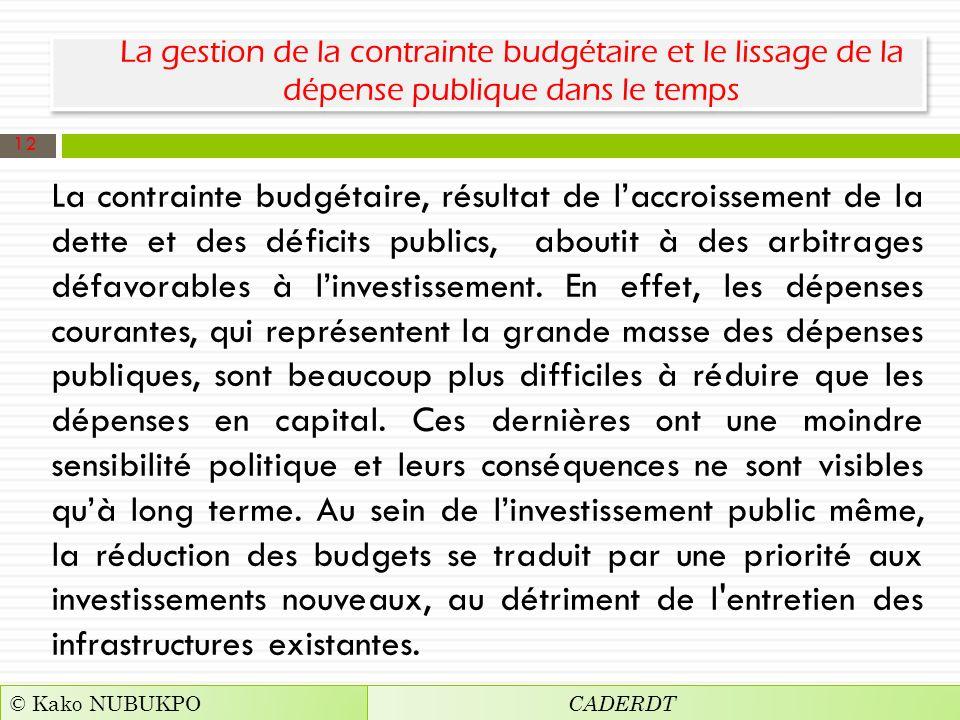 La gestion de la contrainte budgétaire et le lissage de la dépense publique dans le temps La contrainte budgétaire, résultat de laccroissement de la dette et des déficits publics, aboutit à des arbitrages défavorables à linvestissement.
