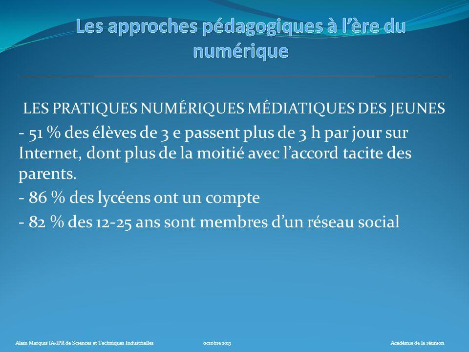 Alain Marquis IA-IPR de Sciences et Techniques Industriellesoctobre 2013Académie de la réunion LES PRATIQUES NUMÉRIQUES MÉDIATIQUES DES JEUNES - 51 %