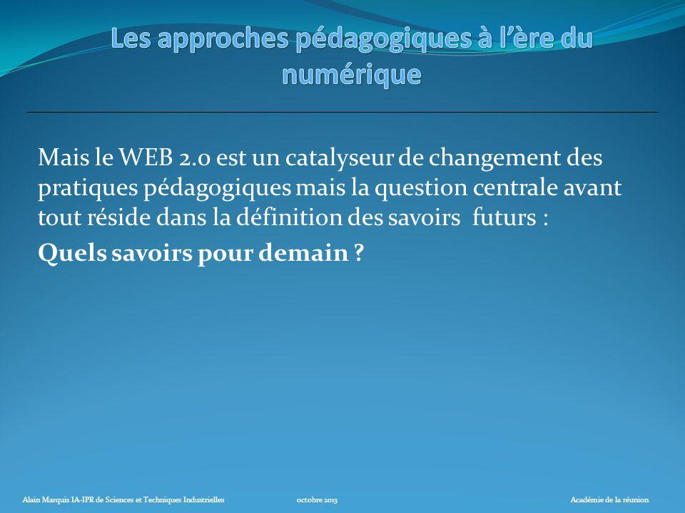 Alain Marquis IA-IPR de Sciences et Techniques Industriellesoctobre 2013Académie de la réunion Mais le WEB 2.0 est un catalyseur de changement des pra
