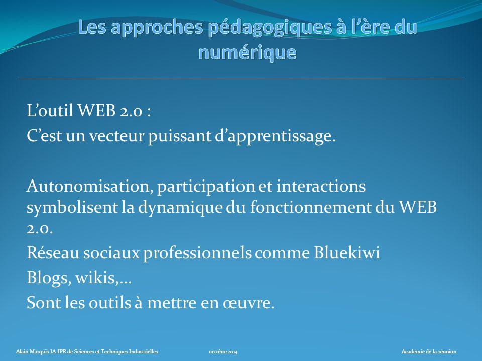 Alain Marquis IA-IPR de Sciences et Techniques Industriellesoctobre 2013Académie de la réunion Loutil WEB 2.0 : Cest un vecteur puissant dapprentissag