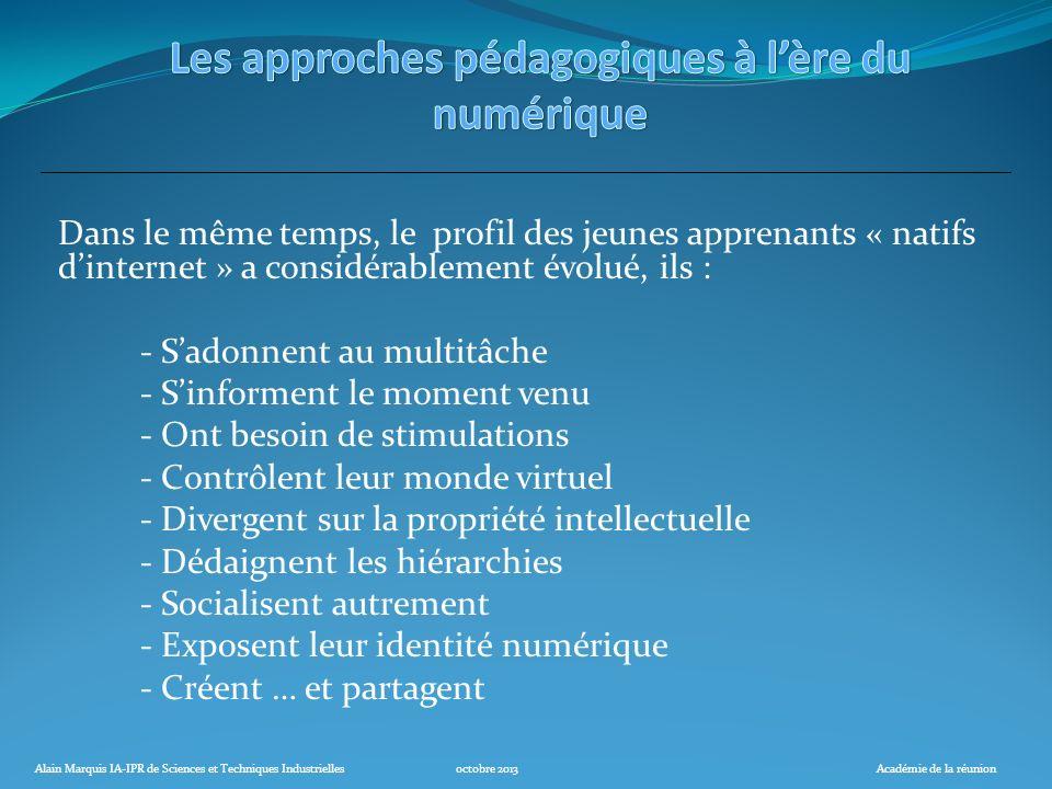 Alain Marquis IA-IPR de Sciences et Techniques Industriellesoctobre 2013Académie de la réunion Dans le même temps, le profil des jeunes apprenants « n