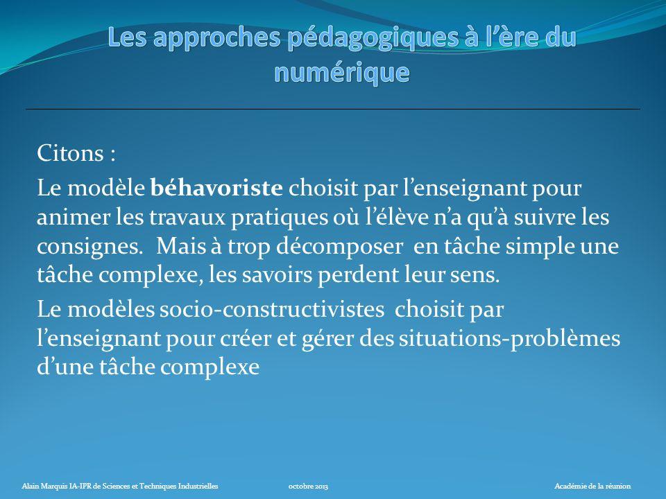 Alain Marquis IA-IPR de Sciences et Techniques Industriellesoctobre 2013Académie de la réunion Citons : Le modèle béhavoriste choisit par lenseignant