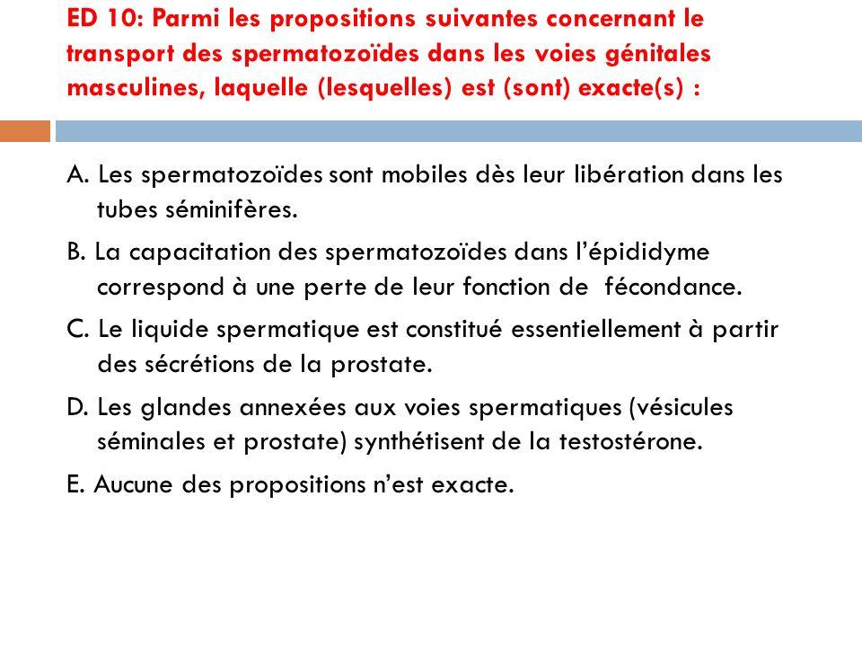 ED 10: Parmi les propositions suivantes concernant le transport des spermatozoïdes dans les voies génitales masculines, laquelle (lesquelles) est (sont) exacte(s) : A.