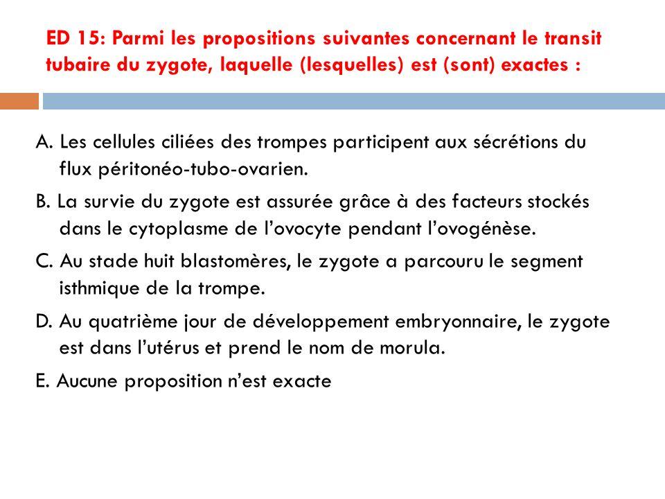 ED 15: Parmi les propositions suivantes concernant le transit tubaire du zygote, laquelle (lesquelles) est (sont) exactes : A.