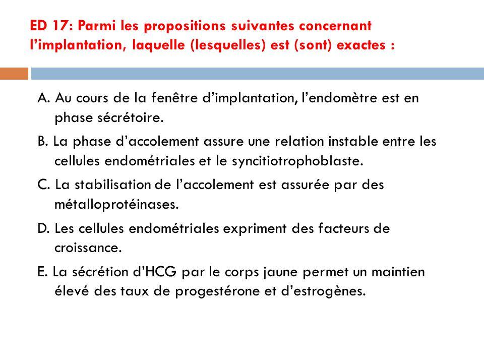 ED 17: Parmi les propositions suivantes concernant limplantation, laquelle (lesquelles) est (sont) exactes : A.