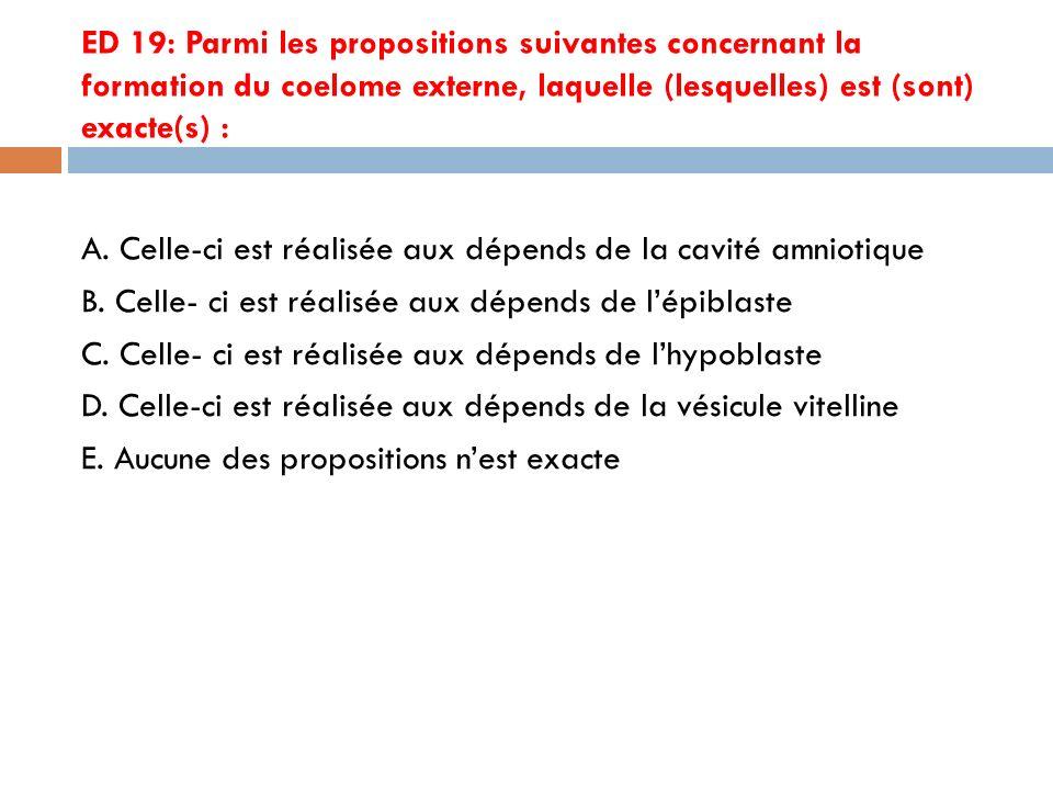 ED 19: Parmi les propositions suivantes concernant la formation du coelome externe, laquelle (lesquelles) est (sont) exacte(s) : A.