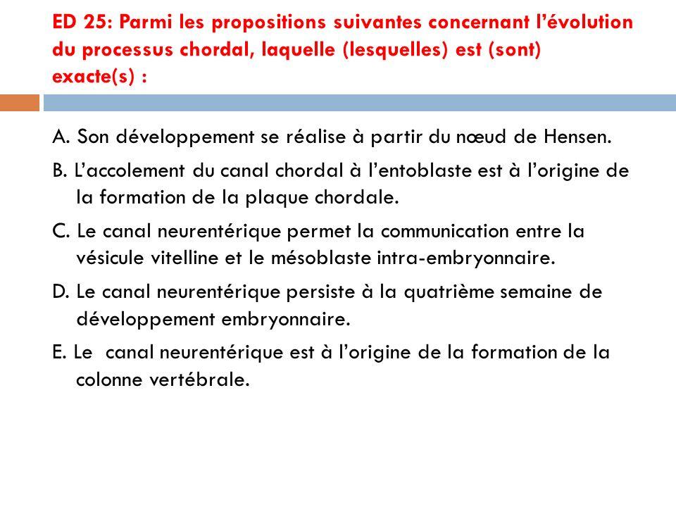 ED 25: Parmi les propositions suivantes concernant lévolution du processus chordal, laquelle (lesquelles) est (sont) exacte(s) : A.