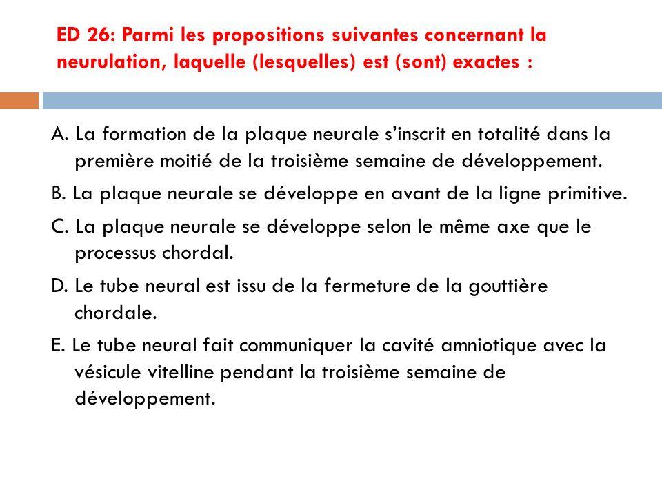 ED 26: Parmi les propositions suivantes concernant la neurulation, laquelle (lesquelles) est (sont) exactes : A.