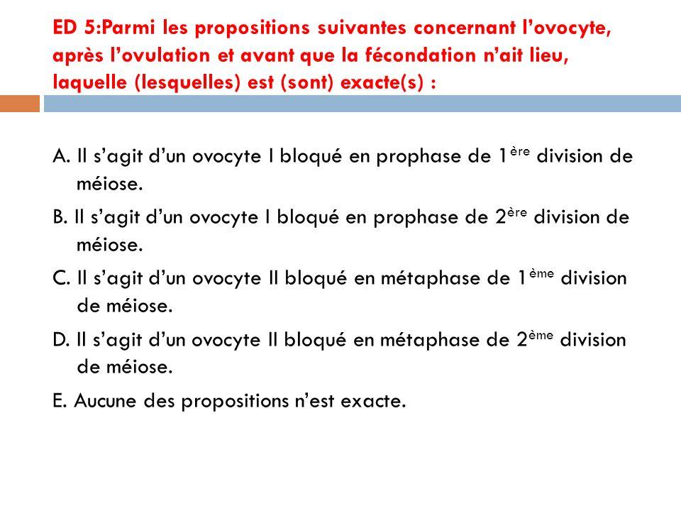 ED 5:Parmi les propositions suivantes concernant lovocyte, après lovulation et avant que la fécondation nait lieu, laquelle (lesquelles) est (sont) exacte(s) : A.