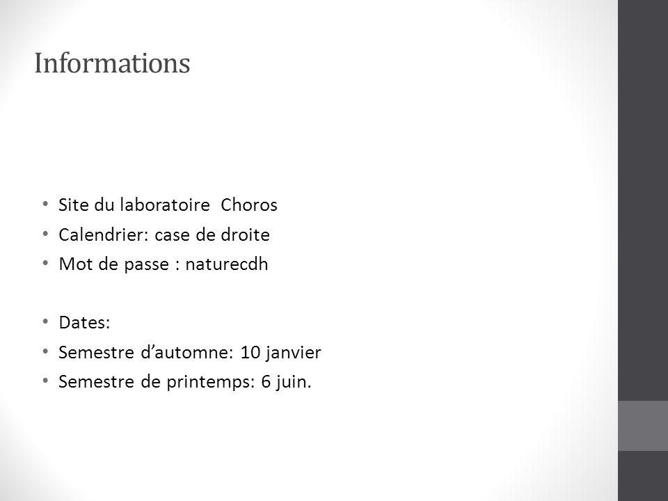 Informations Site du laboratoire Choros Calendrier: case de droite Mot de passe : naturecdh Dates: Semestre dautomne: 10 janvier Semestre de printemps: 6 juin.