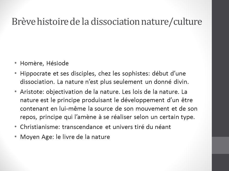 Brève histoire de la dissociation nature/culture Homère, Hésiode Hippocrate et ses disciples, chez les sophistes: début dune dissociation.