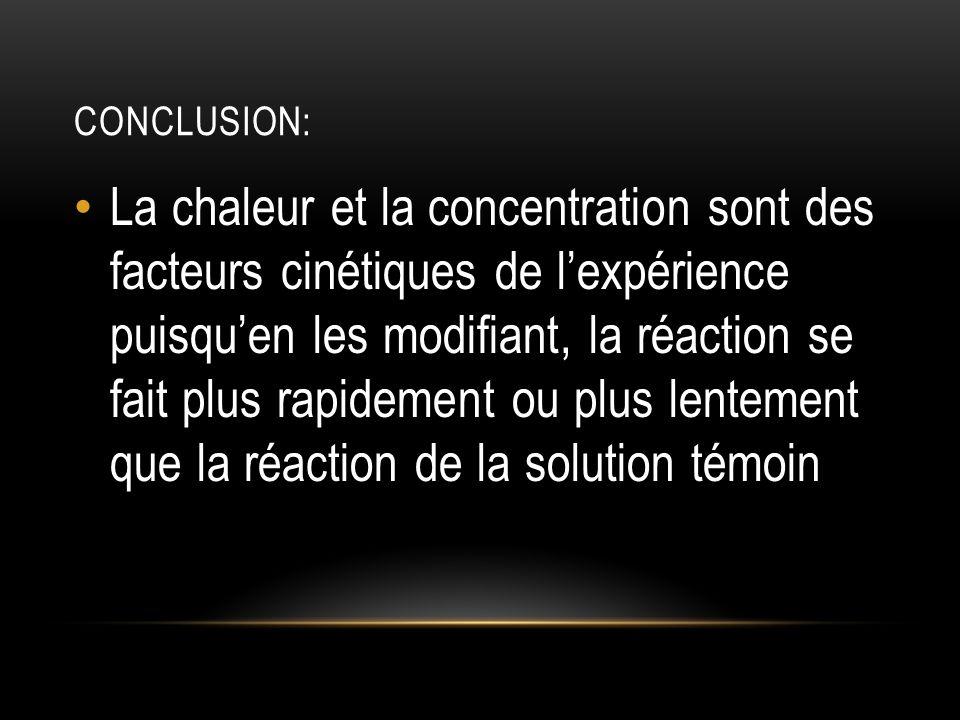 CONCLUSION: La chaleur et la concentration sont des facteurs cinétiques de lexpérience puisquen les modifiant, la réaction se fait plus rapidement ou plus lentement que la réaction de la solution témoin