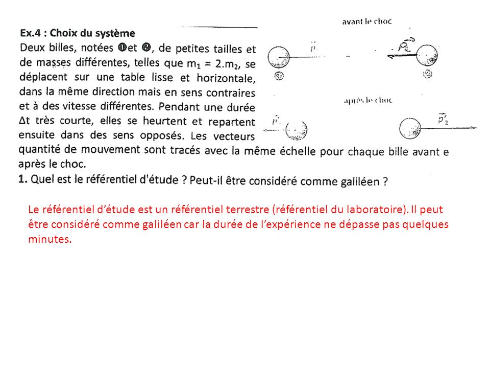 Le référentiel détude est un référentiel terrestre (référentiel du laboratoire).