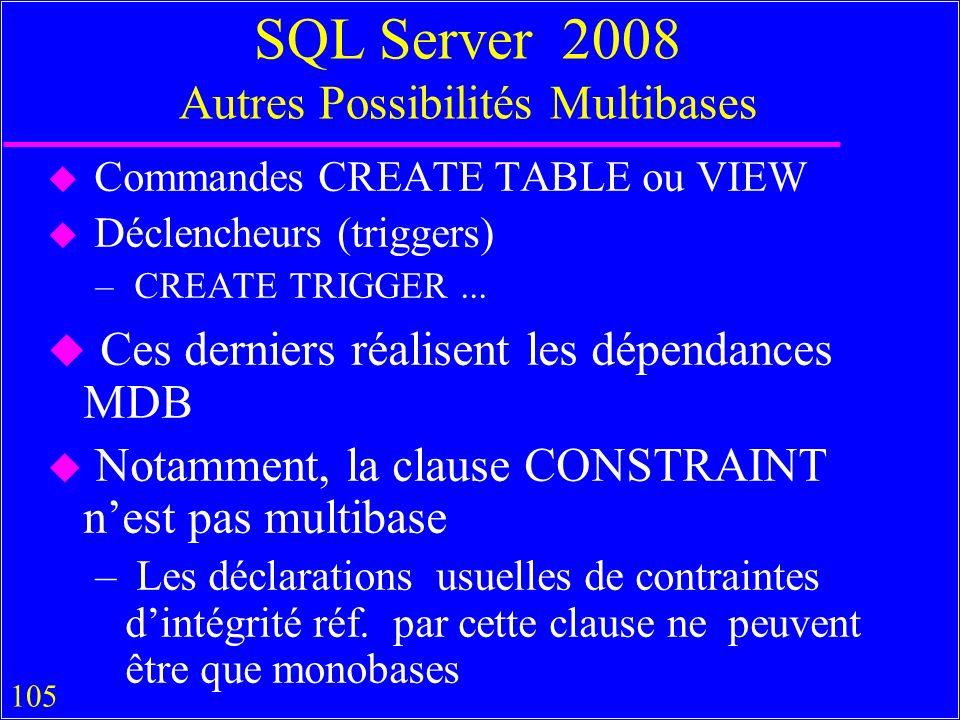 105 SQL Server 2008 Autres Possibilités Multibases u Commandes CREATE TABLE ou VIEW u Déclencheurs (triggers) – CREATE TRIGGER...