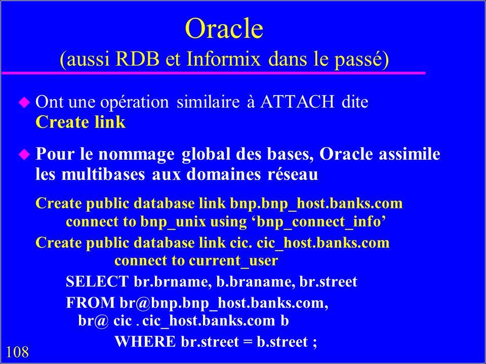 108 Oracle (aussi RDB et Informix dans le passé) u Ont une opération similaire à ATTACH dite Create link u Pour le nommage global des bases, Oracle assimile les multibases aux domaines réseau Create public database link bnp.bnp_host.banks.com connect to bnp_unix using bnp_connect_info Create public database link cic.