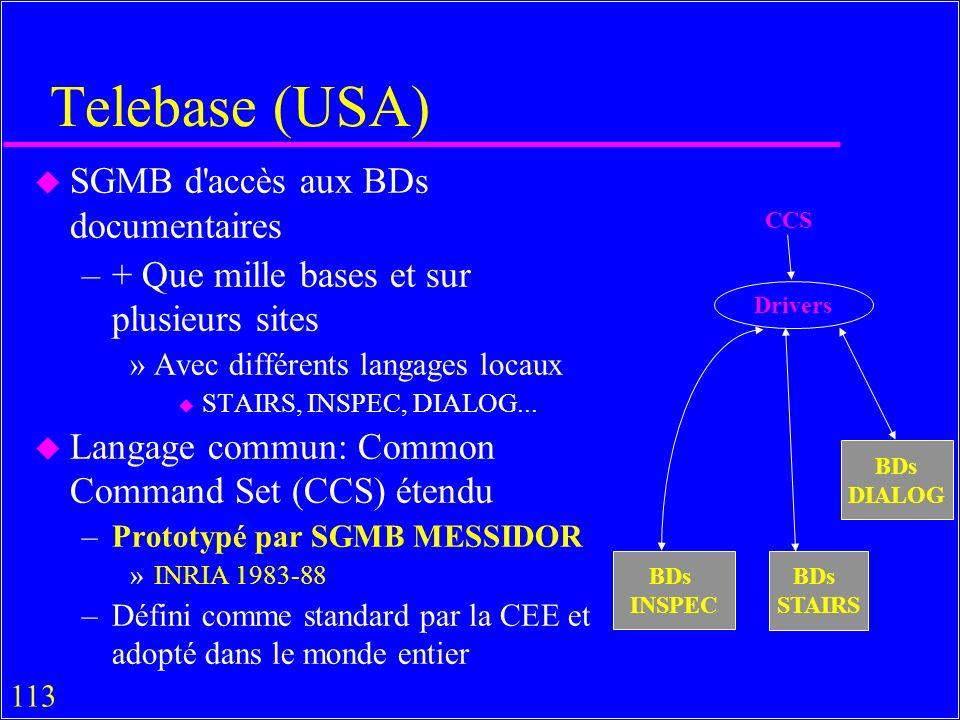 113 Telebase (USA) u SGMB d accès aux BDs documentaires –+ Que mille bases et sur plusieurs sites »Avec différents langages locaux u STAIRS, INSPEC, DIALOG...