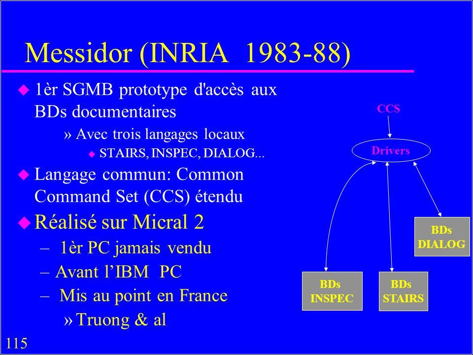 115 Messidor (INRIA 1983-88) u 1èr SGMB prototype d accès aux BDs documentaires »Avec trois langages locaux u STAIRS, INSPEC, DIALOG...