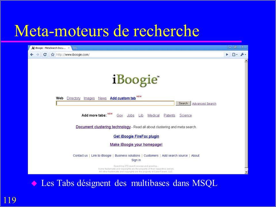 119 Meta-moteurs de recherche u Les Tabs désignent des multibases dans MSQL