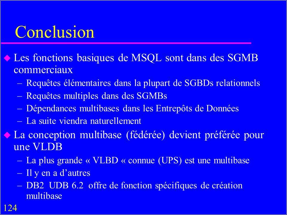 124 Conclusion u Les fonctions basiques de MSQL sont dans des SGMB commerciaux –Requêtes élémentaires dans la plupart de SGBDs relationnels –Requêtes multiples dans des SGMBs –Dépendances multibases dans les Entrepôts de Données –La suite viendra naturellement u La conception multibase (fédérée) devient préférée pour une VLDB –La plus grande « VLBD « connue (UPS) est une multibase –Il y en a dautres –DB2 UDB 6.2 offre de fonction spécifiques de création multibase